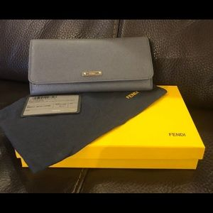 Gently used Fendi saffiano leather grey wallet
